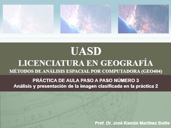 Portada de práctica de aula paso a paso número 3 (Análisis y representación mediante ArcGIS de una imagen clasificada)