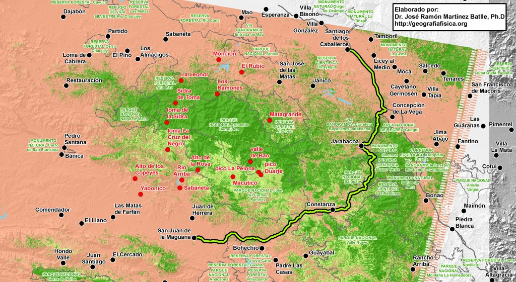 Trazado propuesto (en trazo verde con borde negro) para la carretera Cibao-Sur (hacer clic para una versión de mayor resolución). La ruta pasaría al norte de Bohechío y Padre Las Casas, para llegar, a través del cañón del río En Medio o Grande, hasta Constanza. Desde esta localidad se continuaría por carreteras preexistentes hasta llegar a Santiago. La distancia total sería de 157 km. En borde gris se muestran los límites de las áreas protegidas, debidamente rotuladas con letra verde.