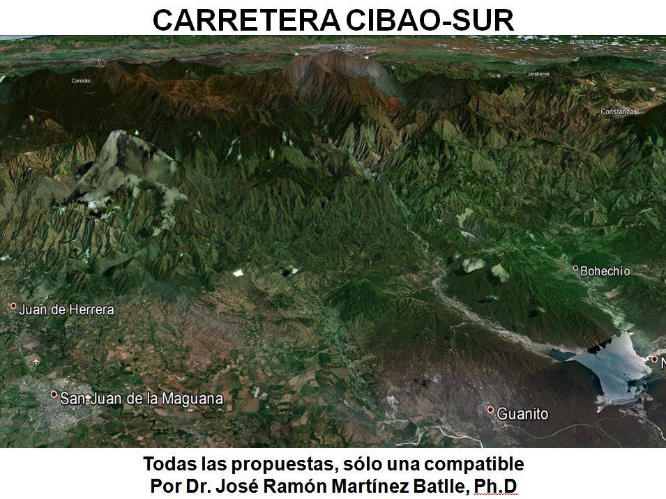 """Portada de la presentación: """"Carretera Cibao-Sur: todas las propuestas, sólo una compatible"""""""