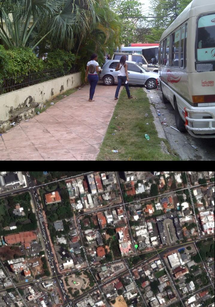 Avenida Máximo Cabral, entre Caonabo y Bolívar. La fotografía está tomada sobre la primera mirando hacia el sur; ver localización en mapa inferior hecho con GoogleEarth (Foto: J. Martínez, viernes 3 de mayo de 2013, sobre las 3 pm). Carros estacionados sobre la acera, haciendo que la gente tenga que circular por la calle. RIESGO ALTÍSIMO DE ATROPELLO. CAOS TOTAL.