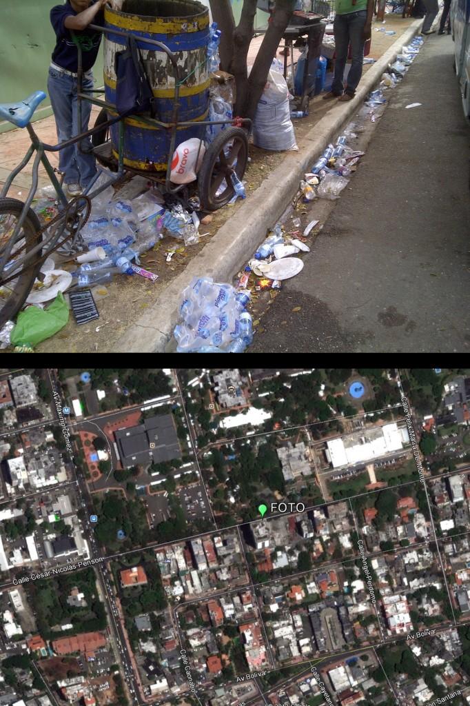 Avenida César Nicolás Penson; ver localización en mapa inferior hecho con GoogleEarth (Foto: J. Martínez, viernes 3 de mayo de 2013, sobre las 3 pm). ¡¡BIENVENIDA BASURA!! ¡¡LLENA NUESTROS DRENAJES!! ¡¡QUEREMOS UNA PISCINA EN PLENA CÉSAR NICOLÁS PENSON!! CAOS TOTAL.