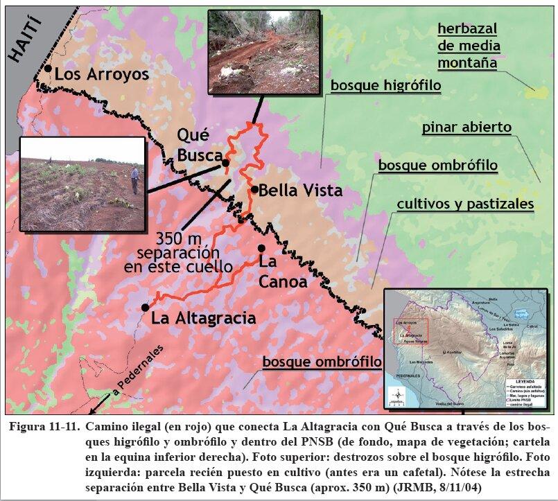 Mapa y fotos que muestran una carretera para conectar Bella Vista con Qué Busca, haciendo un exagerado rodeo sobre el bosque nublado