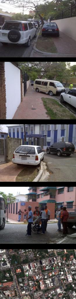 """Avenida Caonabo; ver localización de las distintas fotos en mapa inferior hecho con GoogleEarth (Foto: J. Martínez, viernes 3 y domingo 5 de mayo de 2013, sobre las 3 pm). En las tres fotos superiores, vehículos estacionados en las aceras norte y sur de la Caonabo, con ayuda de los """"parqueadores"""". En la foto inferior, """"parqueadores"""" reunidos en la esquina Caonabo con Máximo Cabral.  Estos """"nobles"""" señores, ayudan a los conductores a ocupar las aceras, estacionar en doble fila, obstruir el tráfico, entre otras lindezas, y todo por una insignificante cantidad de dinero (el último día de la Feria los escuche cobrando RD$100.00 por ayudar a los conductores a estacionar en la acera). OCUPACIÓN DE ESPACIO PÚBLICO. CAOS TOTAL."""