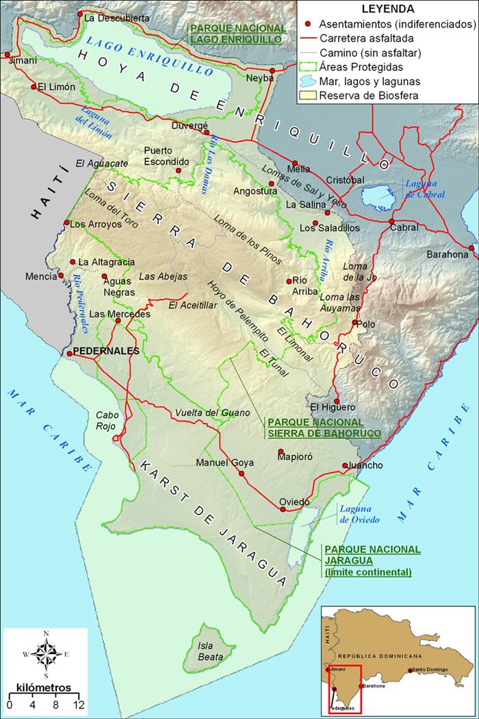 Reserva de Biosfera Jaragua-Bahoruco-Enriquillo, con límites del Parque Nacional de Sierra de Bahoruco (fuente: Martínez, 2012)