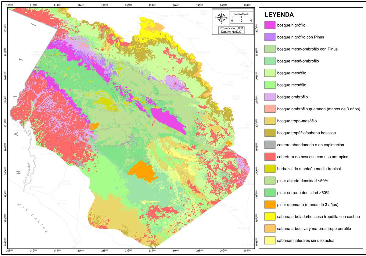 Mapa de formaciones vegetales y cobertura del suelo del parque nacional Sierra de Bahoruco y su entorno, actualizado a 2003 (fuente: Martínez, 2012)