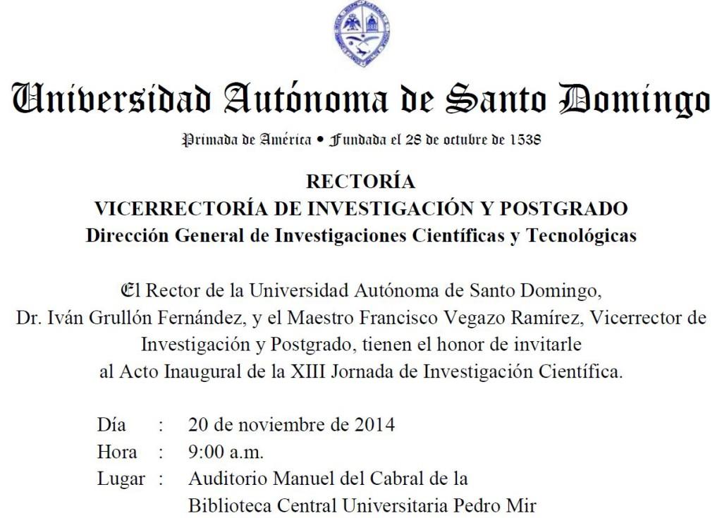 Invitación a XIII Jornadas de Investigación Científica (2014), UASD
