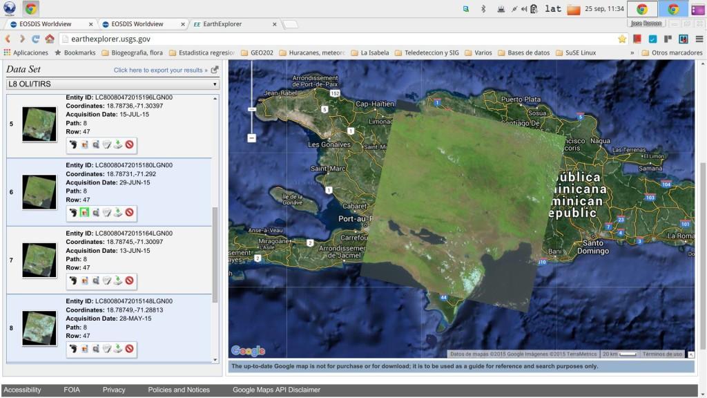 Escena preincendio Landsat 8 OLI/TIRS, de 29 de enero de 2015 (Fuente: EarthExplorer,2015)