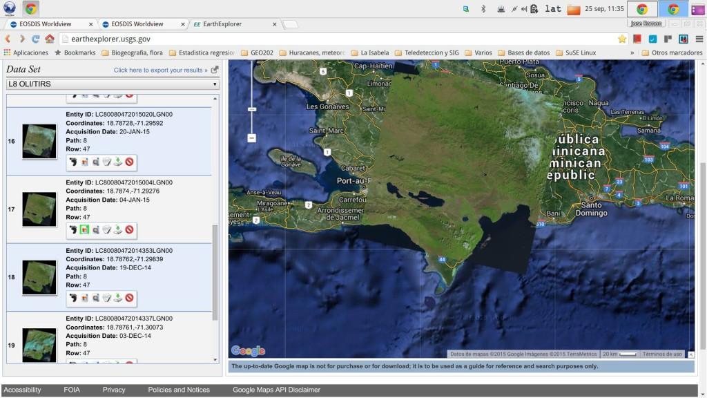 Escena preincendio Landsat 8 OLI/TIRS, de 4 de enero de 2015 (Fuente: EarthExplorer,2015)