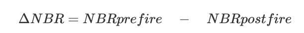 Fórmula de la diferencia de la tasa de quema normalizada (Fuente: Terradue, 2014)