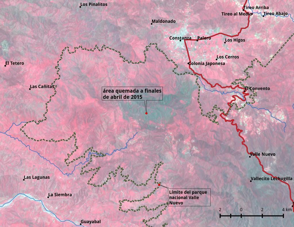 Composición en falso color típico de la escena posincendio de Landsat8