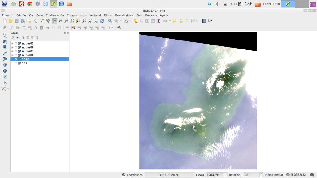 Composición en color real de la isla de Bioko, mostrando nubes