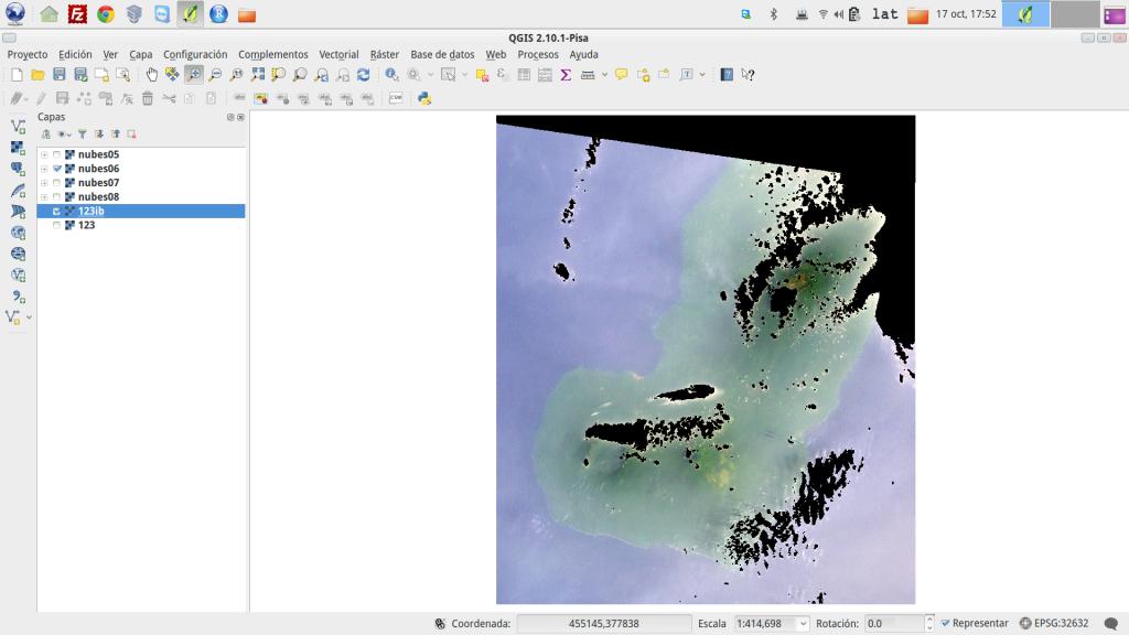 Máscara de nubes (tonos negros) sobre composición en color real de la isla de Bioko