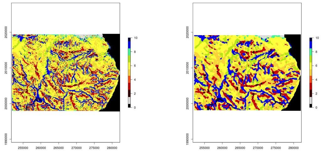 Imagen de geomórfonos del Bahoruco Oriental sin filtrar (izquierda) y filtrada (derecha)