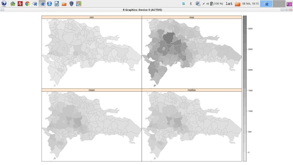 Mapas de la media, mediana, máximo y mínimo de alturas por municipios de República Dominicana