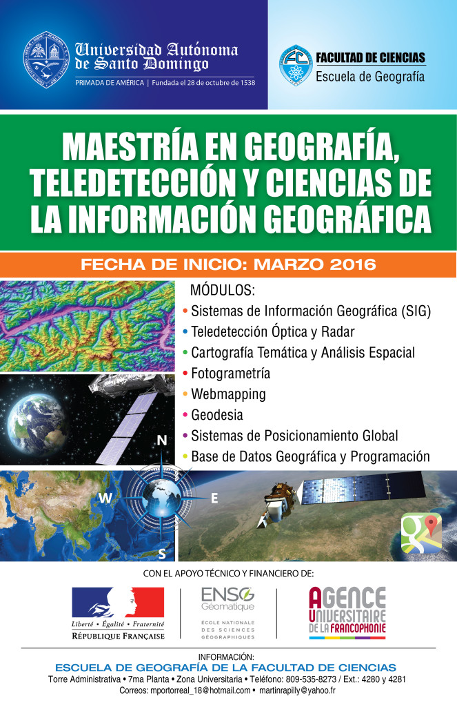 Cartel de la Maestría en geografía, teledetección y ciencias de la información geográfica UASD-ENSG (Francia)