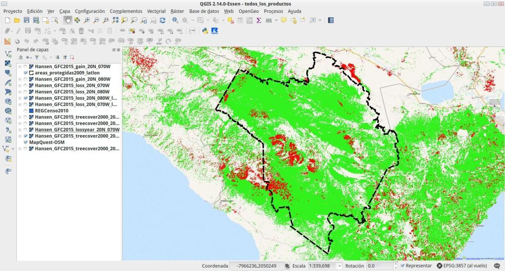 Cobertura arbórea de más de un 50% en el año 2000 (manchas verdes) y pérdida de bosque entre 2000 y 2014 (manchas rojas), en el parque nacional Sierra de Bahoruco