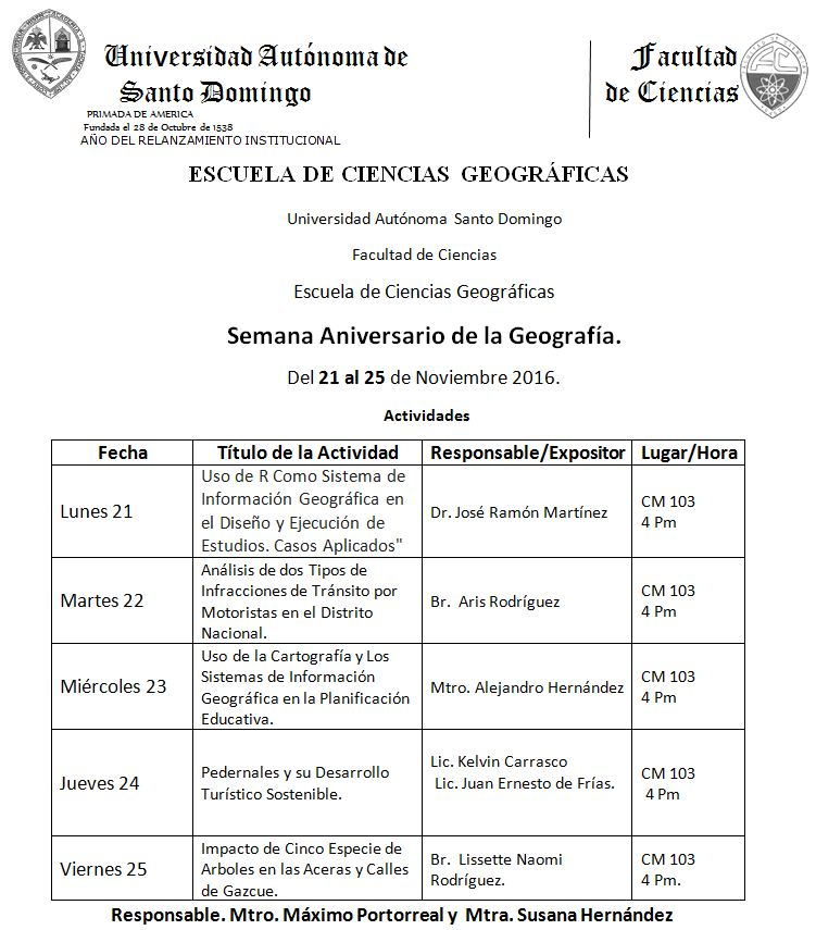 Invitación a ciclo de charlas de la Semana Aniversario de la Geografía